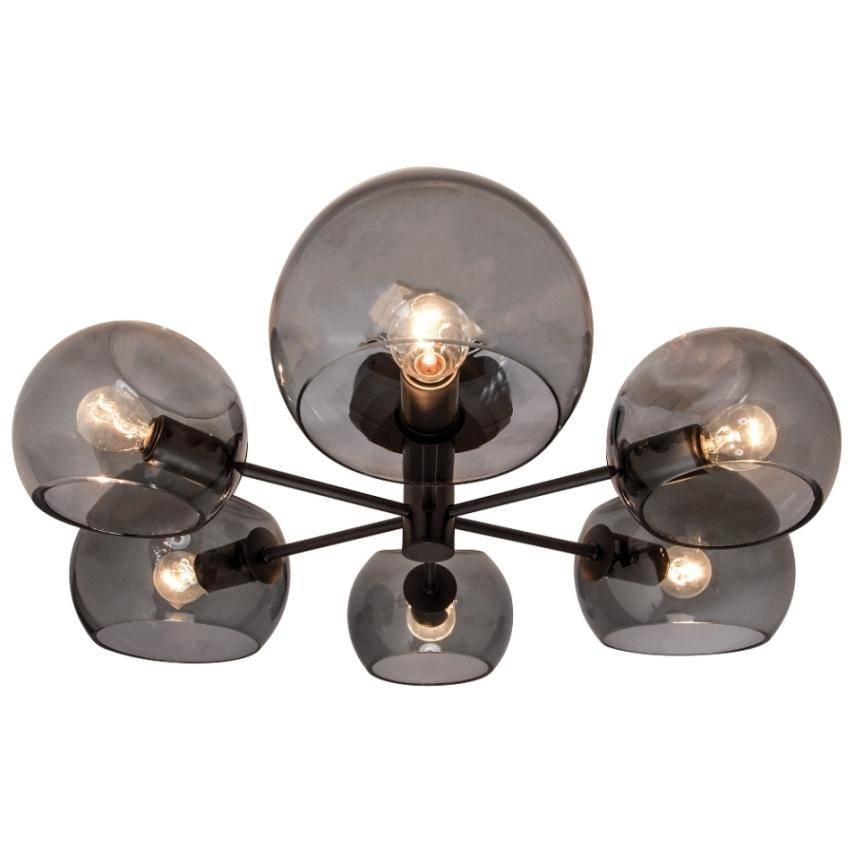 MILAN - 6Lt Pendant - Matt Black / Smoke