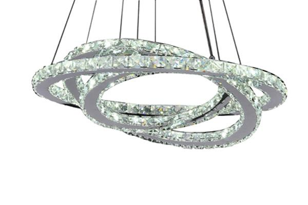 LED 51W 3 Rings Crystal Pendant