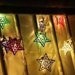 COLOURED METAL STARS String Light - WW - Click for more info