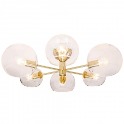 MILAN - 6Lt Celing Light -  Brass / Clea - Click for more info